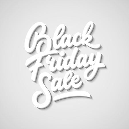 Black Friday Sale lettering, 3d oblique calligraphy with block blended shade and realistic shadow for  labels, badges, prints, posters, web, presentation. illustration. Illustration