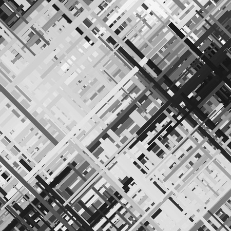 Glitch background, distortion effect, abstract texture, random black and white, grey diagonal lines for design concepts, posters, wallpapers, presentations and prints. Vector illustration. Vettoriali