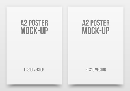 a2: A2 white posters realistic template, mock-up with margins, realistic shadow and light background for design concepts, presentations, web, identity, prints. Vector illustration.