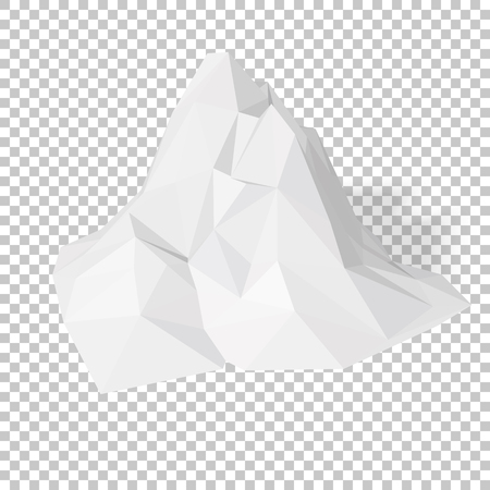 elevation: White 3D mountains, abstract low-poly, polygonal triangular mosaic elevation landscape with transparent background for web, presentations and prints. Vector illustration. Realistic 3D render design. Illustration