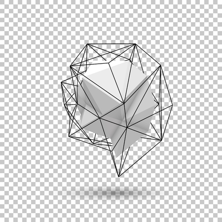 White abstract shape with low-poly, polygonal triangular mosaic texture and realistic shadow for design concepts, web, presentations and prints. Realistic 3D render design. Vector illustration. 向量圖像