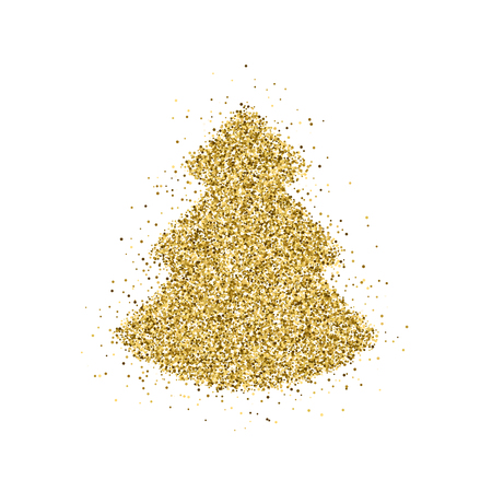 Gold glitter Christmas tree, XMAS, Happy New Year badge with light background for design concepts, banners, labels, postcards, invitations, prints, posters, web. Vector illustration.