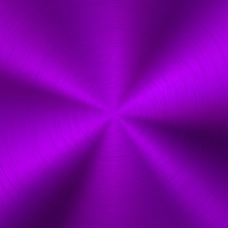Violet metal technology background with polished, brushed circular concentric texture, chrome, silver, steel, for design concepts, web, posters, wallpapers and prints. Vector illustration.