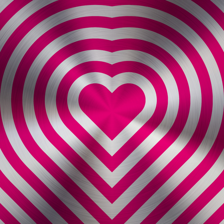 Magenta metal abstract heart technology background with circular polished, brushed concentric texture