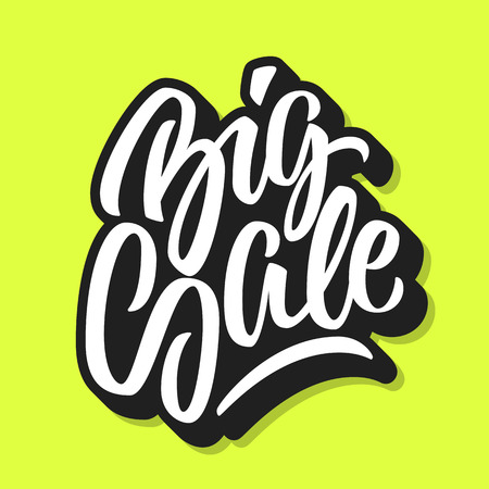 White Big Sale handmade lettering, graffiti style italic calligraphy with outline and 3d block blended shade for logo, design concepts, banners, labels, prints, posters, stickers. Vector illustration.