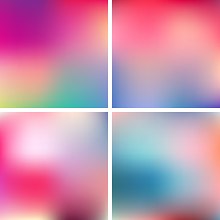 Abstract pink, teal, purple and green blur color gradient backgrounds for web, presentations and prints. Vector illustration. Illustration
