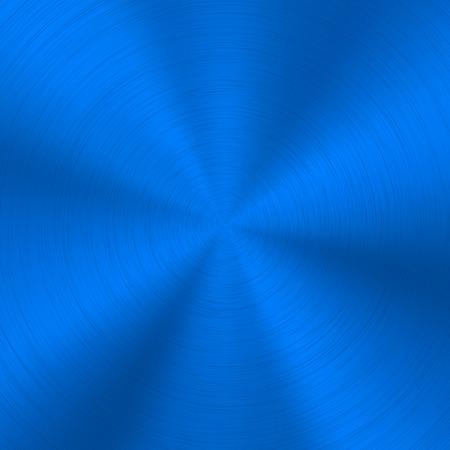 Niebieskie tło technologii metalowej z abstrakcyjną polerowaną, szczotkowaną okrągłą koncentryczną metalową teksturą, chromem, srebrem, stalą, dla koncepcji projektowych, sieci web, plakatów, tapet i wydruków. Ilustracja wektorowa