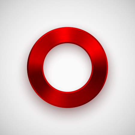 ios: Red abstract technology donut, ring badge, blank button template with metal texture (chrome, silver, steel), realistic shadow and light background for interfaces, UI, applications and apps. Vector.