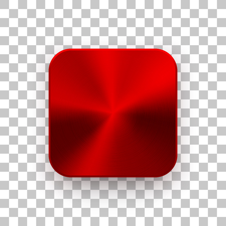 ios: Red metal blank app icon, technology button template with circular brushed texture, chrome, steel, copper and realistic shadow for design concepts, web sites, interfaces, applications, apps. Vector.
