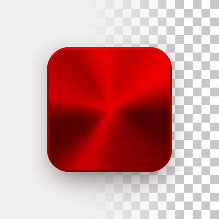 blank button: Red metal blank app icon, technology button template with circular brushed texture, chrome, steel, copper and realistic shadow for design concepts, web sites, interfaces, applications, apps. Vector.