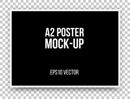 A2 black poster realistic template, mock-up with margins, realistic shadow and transparent background for design concepts, presentations, web, identity, prints. Vector illustration. Ilustração