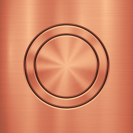 Bronze Metal abstract technology background with circle for and polished, brushed texture, chrome, silver, steel, rust design concepts, web, prints, wallpapers, interfaces. Vector illustration. Vettoriali