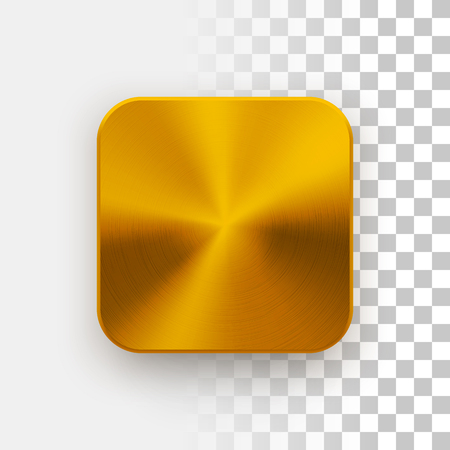 Gold blank app icon, technology button template with metal texture, chrome, steel, copper, realistic shadow and transparent background for web sites, interfaces, UI, applications, apps. Vector.