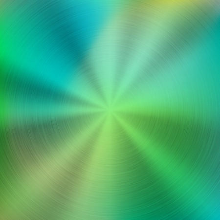 platinum: Metal green abstract colorful gradient technology background with circular polished, brushed concentric texture, chrome, silver, steel, aluminum for design concepts, wallpapers. Vector illustration. Illustration