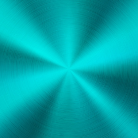 Cyan metal technology background with abstract polished, brushed circular concentric texture, chrome, silver, steel, for design concepts, web, posters, wallpapers and prints. Vector illustration.