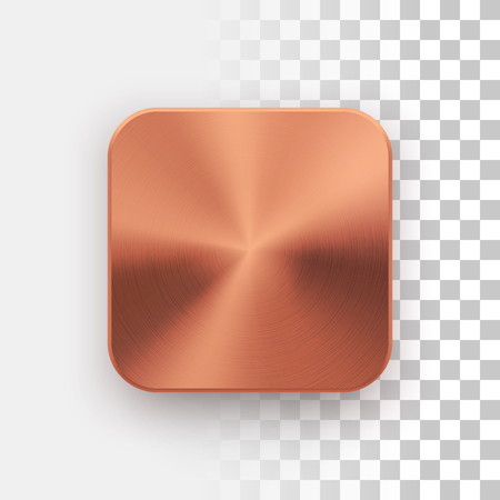 Bronze blank app icon, technology button template with metal texture, chrome, steel, copper, realistic shadow and transparent background for web sites, interfaces, UI, applications, apps. Vector. Illustration