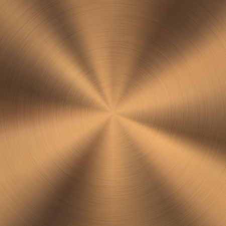 Bronze metal technology background with polished, brushed circular texture, chrome, silver, steel, copper, rust for design concepts, web, posters, wallpapers and prints. Vector illustration. Ilustrace