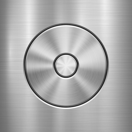 Metal technology background with abstract circle bevels and polished, brushed texture, chrome, silver, steel, aluminum, web, prints, wallpapers, interfaces. Vector illustration.