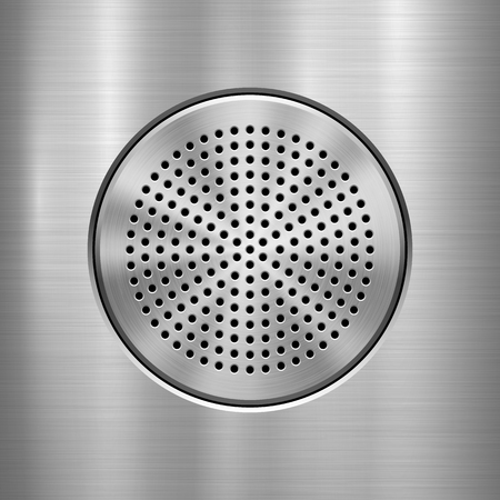 Metal technology background with abstract circle perforated audio speaker with and polished, brushed texture, chrome, silver, steel, aluminum, interfaces. Vector illustration.