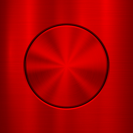brushed aluminium: Red metal abstract technology background with circle for and polished, brushed texture, chrome, silver, steel, rust, web, prints, wallpapers, interfaces. Vector illustration. Illustration