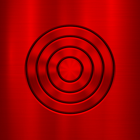 Red metal abstract technology background with circle for and polished, brushed texture, chrome, silver, steel, rust, web, prints, wallpapers, interfaces. Vector illustration. Illustration