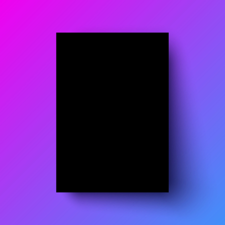 Black poster realistic template, mock-up with margins, realistic shadow and color gradient background for design concepts, presentations, web, identity, prints. Vector illustration. Ilustrace