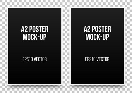 A2 black posters realistic template, mock-up with margins, realistic shadow and transparent background for design, presentations, web, identity, prints. Vector illustration.