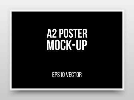 A2 black poster realistic template, mock-up with margins, realistic shadow and light background for design concepts, presentations, web, identity, prints. Vector illustration. Ilustração