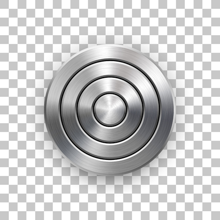 Abstract circle geometric badge, technology perforated button template with metal texture, chrome, silver, steel and realistic shadow for logo, interfaces, apps. Vector illustration.