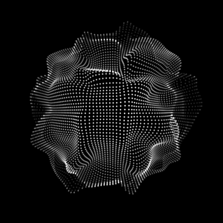 Abstract futuristic space shape, mesh with random, chaos destroyed particles and black background for design, wallpapers, presentations, web, prints. 3D render design. Vector illustration. Ilustrace