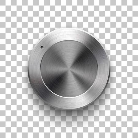 Audio volume knob technology music button template with metal circular brushed texture.