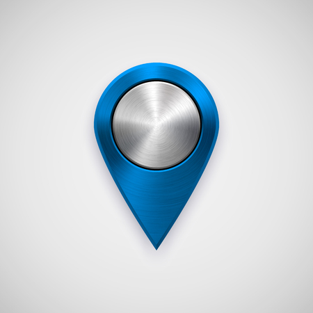 Blue technology map pointer badge, GPS button template with metal texture, chrome, steel, silver, realistic shadow and light background for interfaces, UI, applications, apps, web. Vector illustration Ilustrace