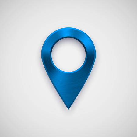 Blue technology map pointer badge, GPS button template with metal texture.