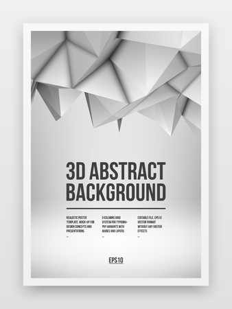 Poster template, mock-up with white abstract low-poly, polygonal mosaic elevation background.