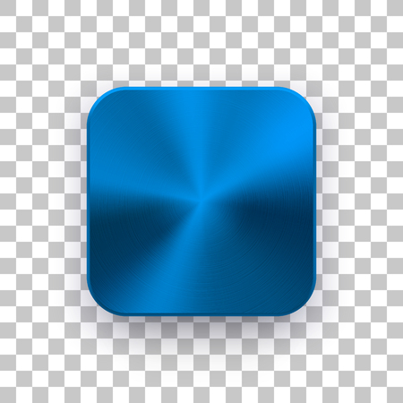 Blue metal blank app icon, technology button template with circular brushed texture. Illustration