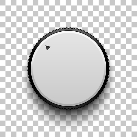 logo music: White technology volume knob, music button with realistic designed shadow, range scale and transparent background for design concepts, web, interfaces, UI, applications, apps. Vector illustration.