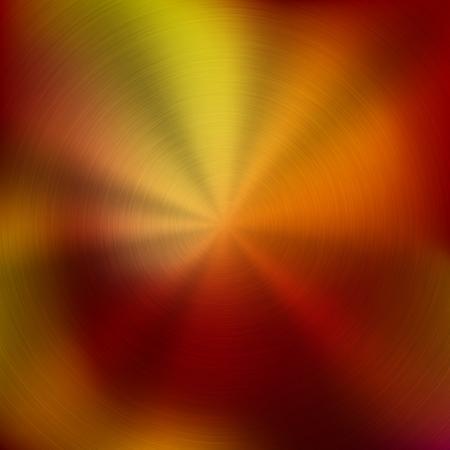 Kovové abstraktní červené barevné gradient technologické pozadí s kruhovým leštěným, kartáčovaný soustředné textury, chrom, stříbro, ocel, hliník pro design koncepty, tapety. Vektorové ilustrace.