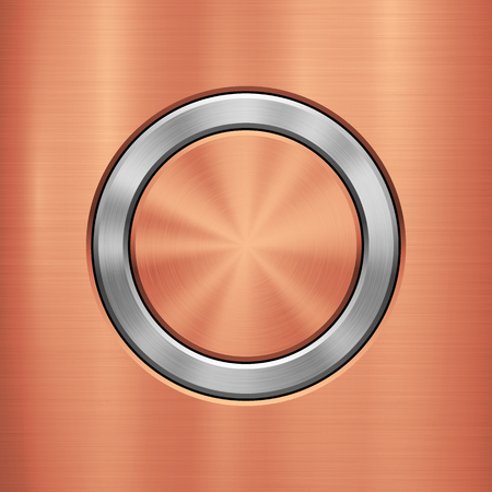 Bronze Metal abstract technology background with circle for and polished, brushed texture, chrome, silver, steel, rust design concepts, web, prints, wallpapers, interfaces. Vector illustration. Ilustrace