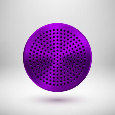Fialový, fialový kruhový odznak, abstraktní geometrické perforované tlačítko šablony s kovovou strukturou, chrom, stříbro, ocel a realistický stín pro logo, design, web, aplikace. Vektorové ilustrace. Ilustrace
