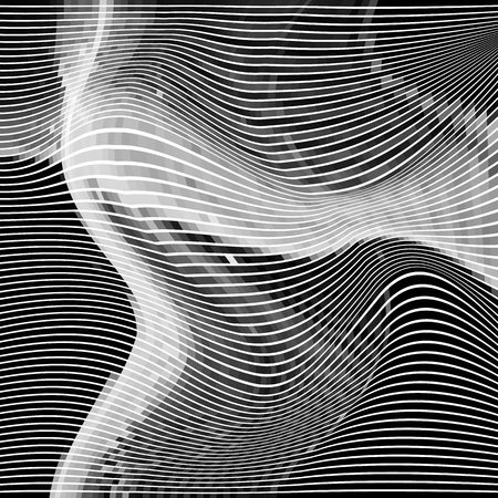 Glitch abstract background with distortion effect, random wave black and white, monochrome lines for design concepts, posters, wallpapers, presentations and prints. Vector illustration.