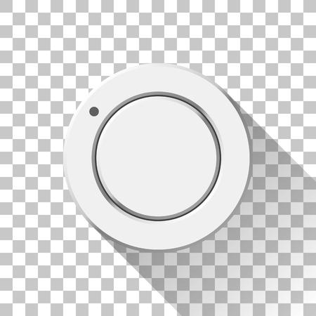 Bílé tlačítko technologie hudby, knoflík hlasitosti s plochým navrženým stínem a průhledným pozadím pro designové koncepty, odznaky, web, tisk, uživatelská rozhraní, uživatelské rozhraní, aplikace a aplikace. Vektorové ilustrace.