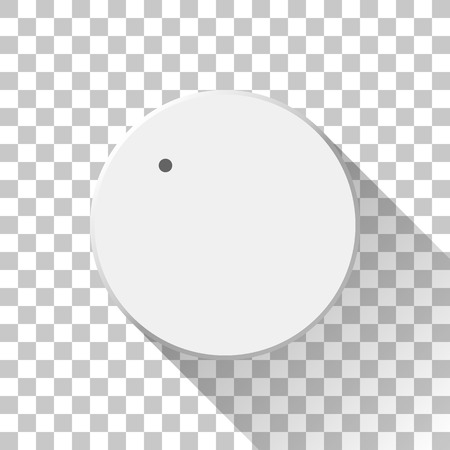 White technology music button, volume knob with flat designed shadow and transparent background for design concepts, badges, web, prints, user interfaces, UI, applications, apps. Vector illustration.