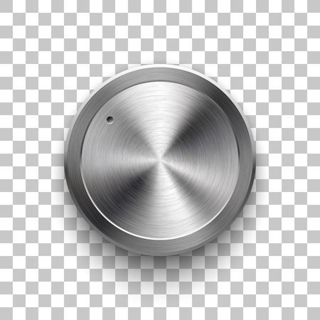 Knoflík pro hlasitost zvuku, technologie šablony hudebního tlačítka s kovovou kruhovou kartáčovanou strukturou, chrom, stříbro, ocel a realistický stín pro designové koncepty, web, rozhraní, uživatelské rozhraní a aplikace. Vektorové ilustrace Ilustrace
