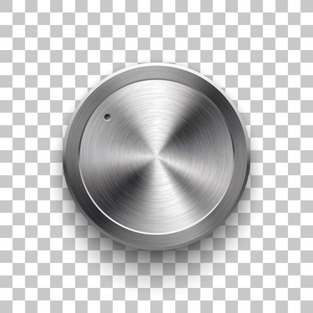 Audio volume knob, technology music button template, with metal circular brushed texture, chrome, silver, steel and realistic shadow for design concepts, web, interfaces, UI, apps. Vector Illustration Illustration