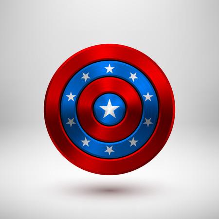 4.července odznak nezávislosti, kruhové tlačítko šablony s kovovou strukturou, chrom, stříbro, ocel a realistický stín pro logo, designové koncepty, rozhraní, aplikace. Vektorové ilustrace.