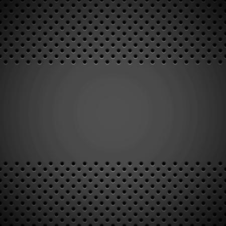 Černé abstraktní technologické pozadí s bezešvým kruhovým děrovaným vzorem, texturami a úkosy reproduktorových mříží pro designové koncepty, tapety, web, prezentace a výtisky. Vektorové ilustrace.