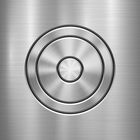 Metal technology background with abstract circle bevels and polished, brushed texture, chrome, silver, steel, aluminum for design concepts, web, prints, wallpapers, interfaces. Vector illustration.
