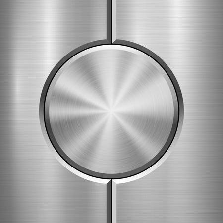 Metal technology with abstract circle bevels and polished, brushed texture, chrome, silver, steel, aluminum for design concepts, web, prints, wallpapers, interfaces