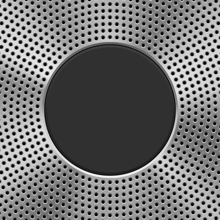Kovové technologie pozadí s kruhovým děrovaným vzorem, textura grilu reproduktoru, kruhově leštěná, kartáčovaná soustředná struktura, chrom, ocel, stříbro a černý kruhový odznak. Vektorové ilustrace.