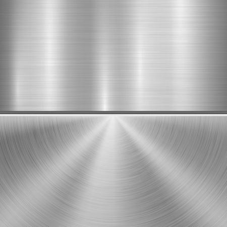 Kovové technologie pozadí s kruhovou a rovnou leštěnou, kartáčovanou texturu, chrom, stříbro, ocel, hliník pro koncepty návrhu, web, tisky, plakáty, tapety, rozhraní. Vektorové ilustrace